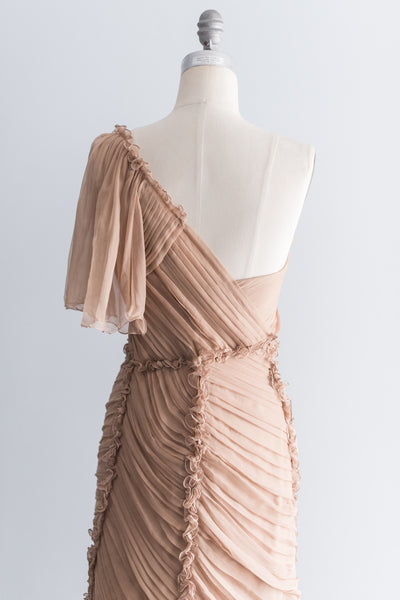Alberta Feretti Silk Chiffon Pleated Gown - S