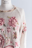 Vintage 1970s Floral Embroidered Sweater - M/L