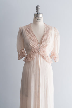 1930's Silk Chiffon Robe and Slip Set - XS/S