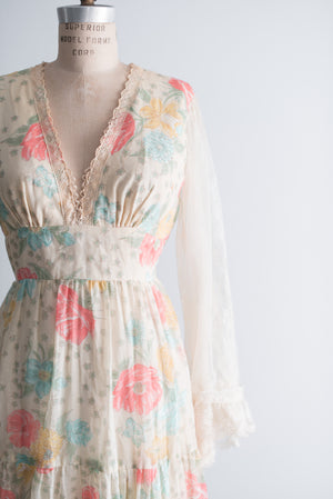1970s Bell Sleeves Floral Gown - S/M