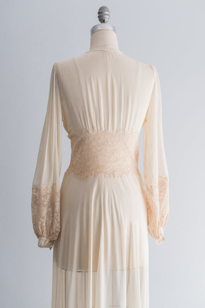 1930's Silk Chiffon Robe with Long Poet Sleeves - S/M
