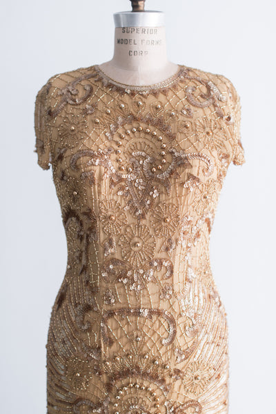 1980s Gold Silk Beaded Wiggle Gown - M/L