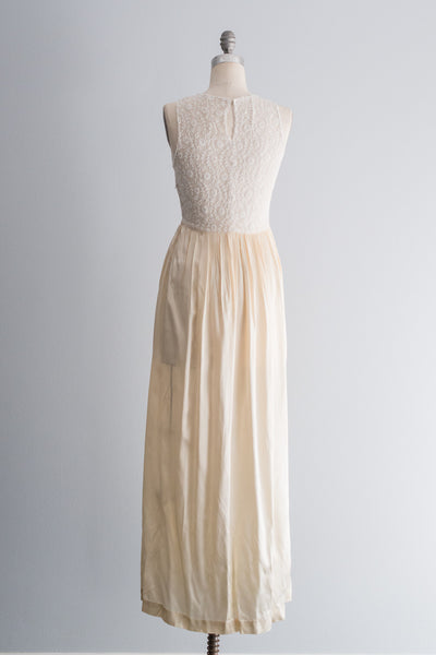 1940's Needle Lace and Satin Gown - S/M