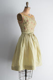 1950s Olive Silk Taffeta Beaded Dress - XS/S