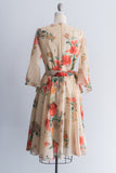 1950's Silk Chiffon Rose Print Dress - S/M