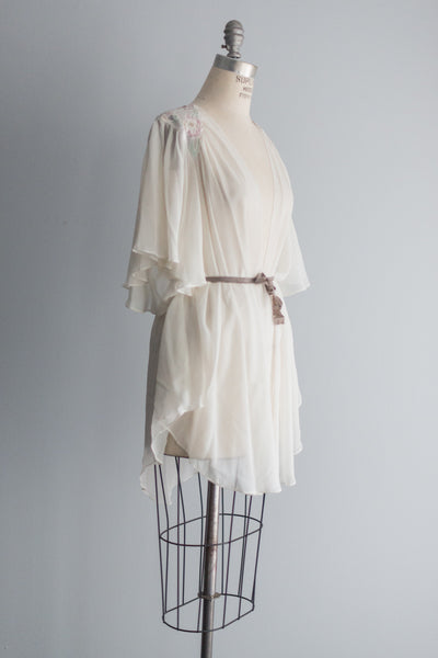 Chiffon Robe with Flutter Sleeves - S/M