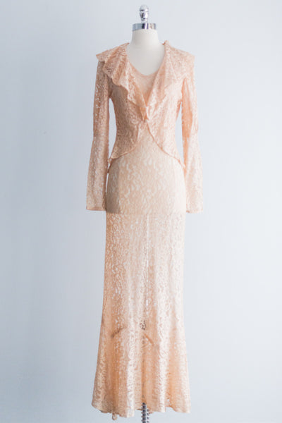 1930s Peach Lace Gown with Jacket - XS