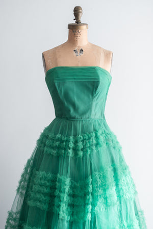 1950s Emerald Green Tulle Dress - XS