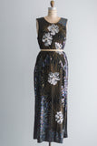 1980's Silk Beaded Tunic Dress with Long Split Sides - M/L