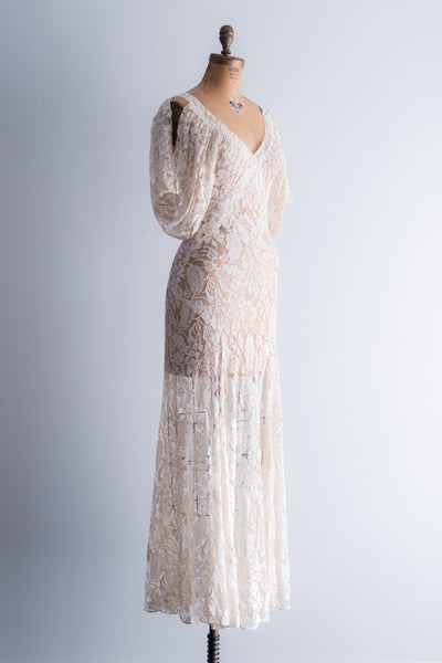 1930s Ivory Lace Gown - XS/S