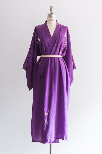 Vintage Purple Silk Kimono with Embroidery - One Size
