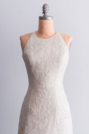 1980's Cream Silk Beaded Gown - S