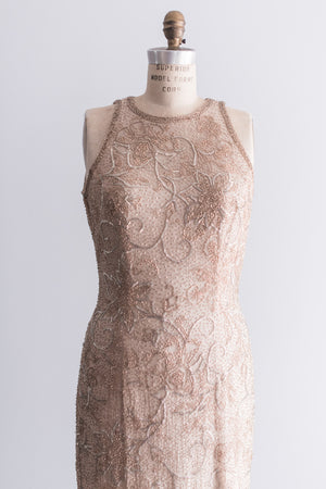1980's Gold Floral Silk Beaded Gown - M