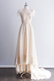 1980's Cream Alencon Lace and Organza Gown - S