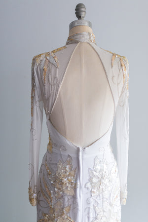 1980's Cream Beaded Gown - M