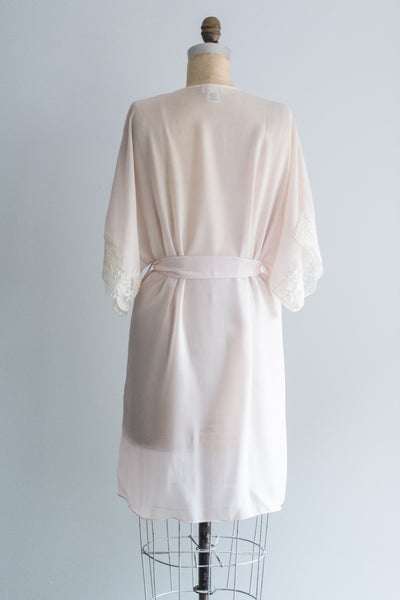 Vintage Pink Chiffon and Lace Robe - S/M