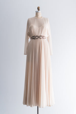 1970's Cream Beaded Waist Gown - M/L