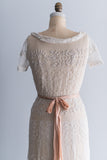 Edwardian Wide-Neck Embroidered Lace Gown - M