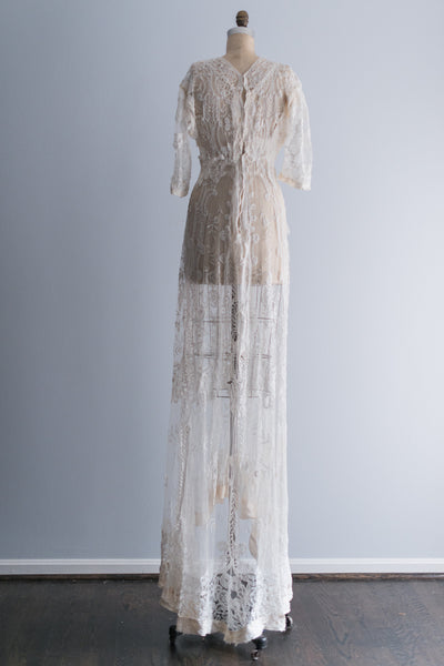 Edwardian Belle Epoque Brussels Lace Gown - S
