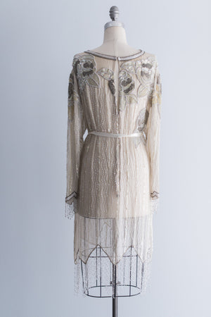 1980's Cream Silk Beaded Dress with Fringe - M