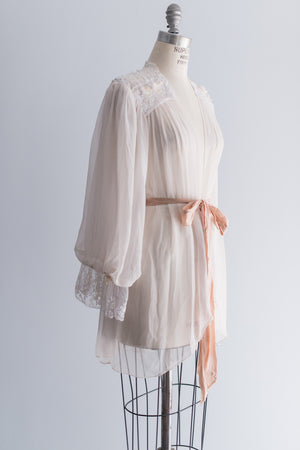 Vintage Sheer Chiffon and Lace Robe with Poet Sleeves - One Size