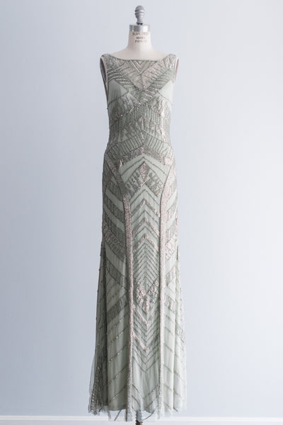 RESERVED Beaded Seafoam Art Deco Gown - M/US 8