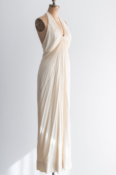 1970s Pleated Halter Gown - S