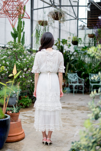 Edwardian Tulle and Embroidered Lace Dress - XS/S