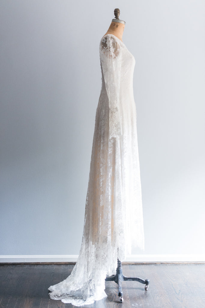 RESERVED French Silk Lace Wedding Gown - L ...