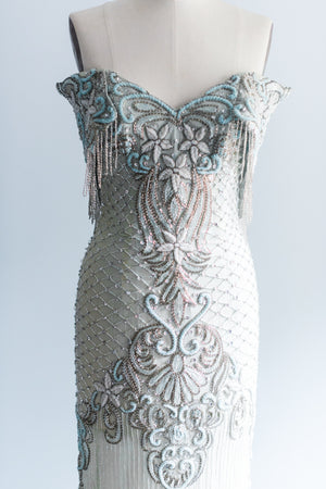 1980s Mint Colored Silk Beaded Column Dress - S