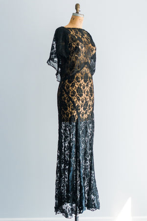1930's Black Silk Lace Bias Gown - M/L