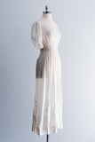 Edwardian Chrysanthemum Whitework Lace Lawn Dress - XS