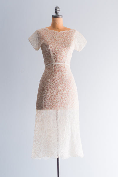 1950s Alecon Lace Wiggle Dress - XS