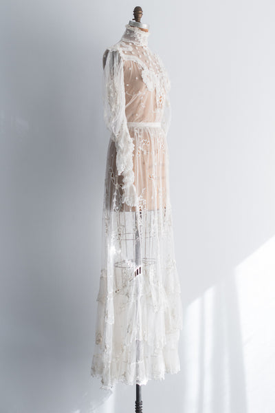 1900s Lace Tambour High Collar Gown - XS