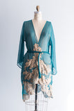 Silk and Gold Lace Rosamosario Robe - S/M