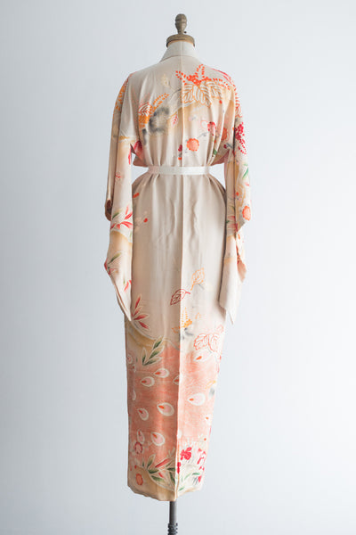 1940s Silk Gray and Ivory Floral Kimono - One Size