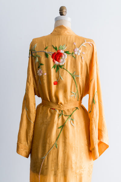Vintage Brochade and Silk Embroidered Mustard Kimono - One Size