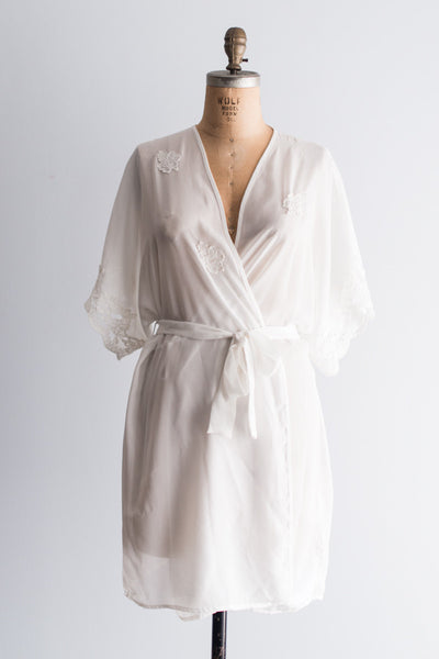 Vintage White Chiffon and Embroidered Lace Robe - One Size