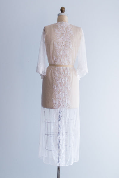 Vintage Swiss Dot Long Lace Robe - One Size