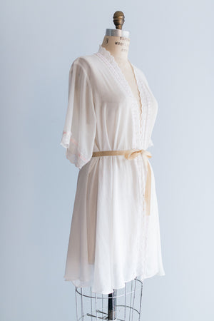 Vintage Chiffon Embroidered Robe - One Size
