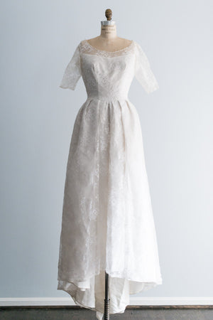 1950s French Silk Lace Gown - M