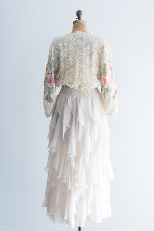 1980s Diane Fres Beaded Embellished Chiffon Dress - L