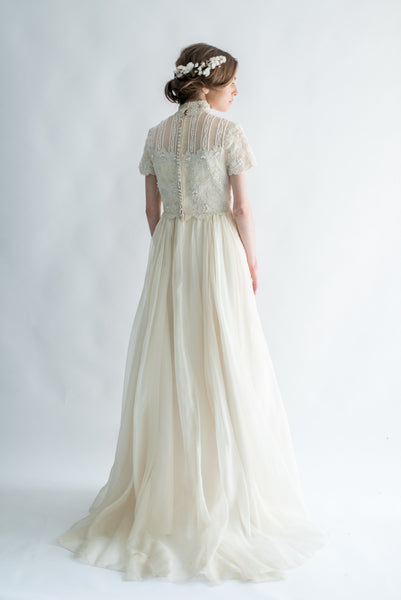 1950s SAKS Silk Organza and Lace Gown - S/M