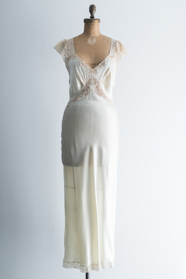 1930s Ivory Fischer Satin and Ecru Lace Gown/Slip - XS/S ...