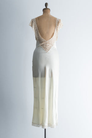 1930s Ivory Fischer Satin and Ecru Lace Gown/Slip - XS/S