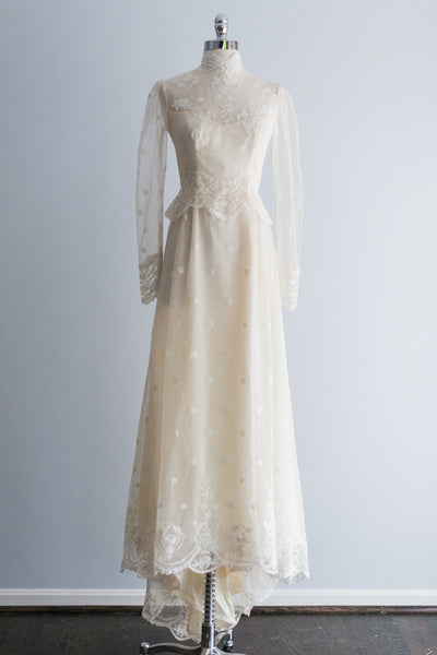 1980's Long Sleeve Needle Lace Dress - S