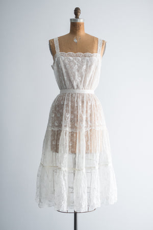 1950s Sheer Embroidered Slip Dress - S/M