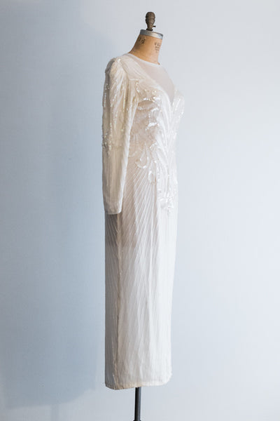 1980s Silk Beaded Gown - L