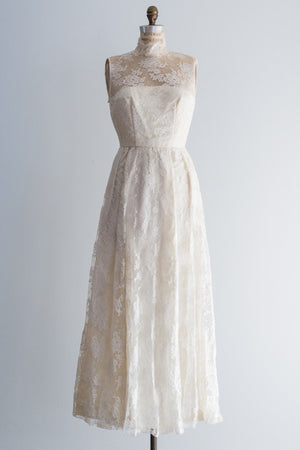 1960's Silk Lace Gown - S