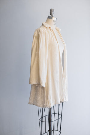 1930's Cream Silk Velvet Jacket - S/M